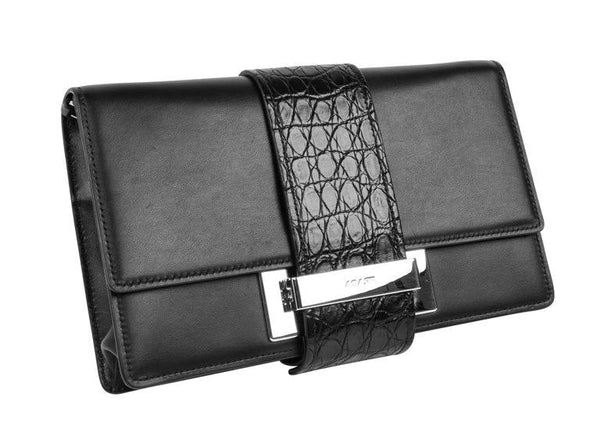 Prada Bag Plex Ribbon Clutch / Shoulder Black w/ Crocodile and Leather Ribbon