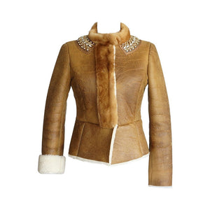 Prada Jacket Distressed Shearling Mink Trim and Jeweled Collar 40 / 6