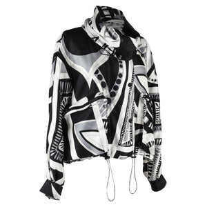Emilio Pucci Jacket Silk Windbreaker Rear Zipper Front Snaps Drawstring 12