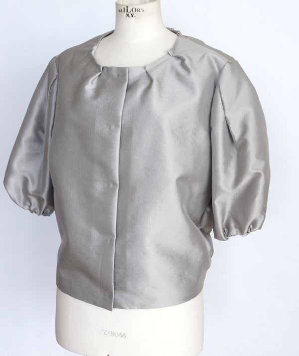 PRADA Jacket soft silver elbow area sleeve very modern sleek 42 8