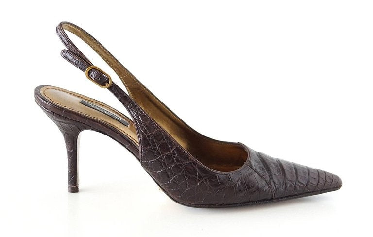 Dolce&Gabbana Shoe Signature Slingback Brown Crocodile 40 10 fits 9
