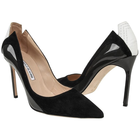 Manolo Blahnik Shoe Black Charcoal White Pump 39 / 9