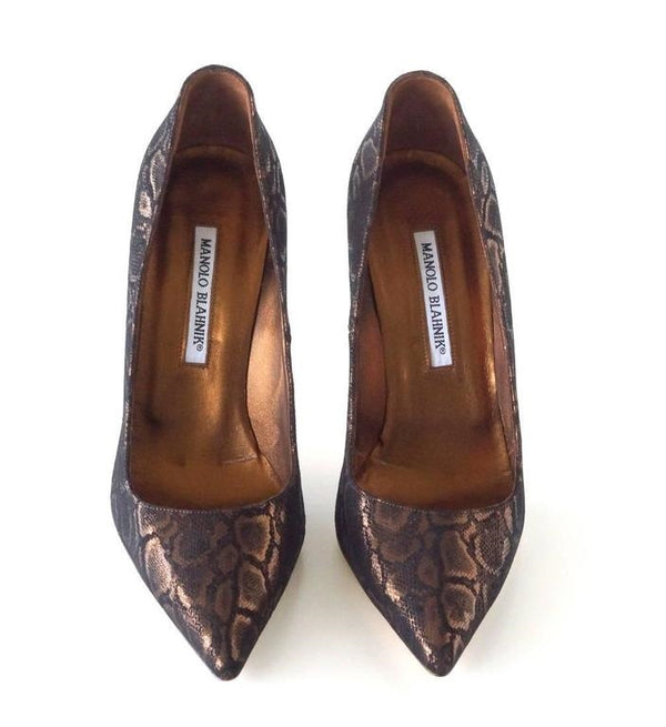Manolo Blahnik Shoe Coppery Bronze Faux Python Pump 39 / 9 New