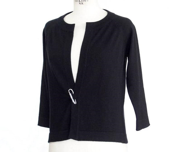QUEENE and BELLE Sweater Black and White Cashmere Cardigan M