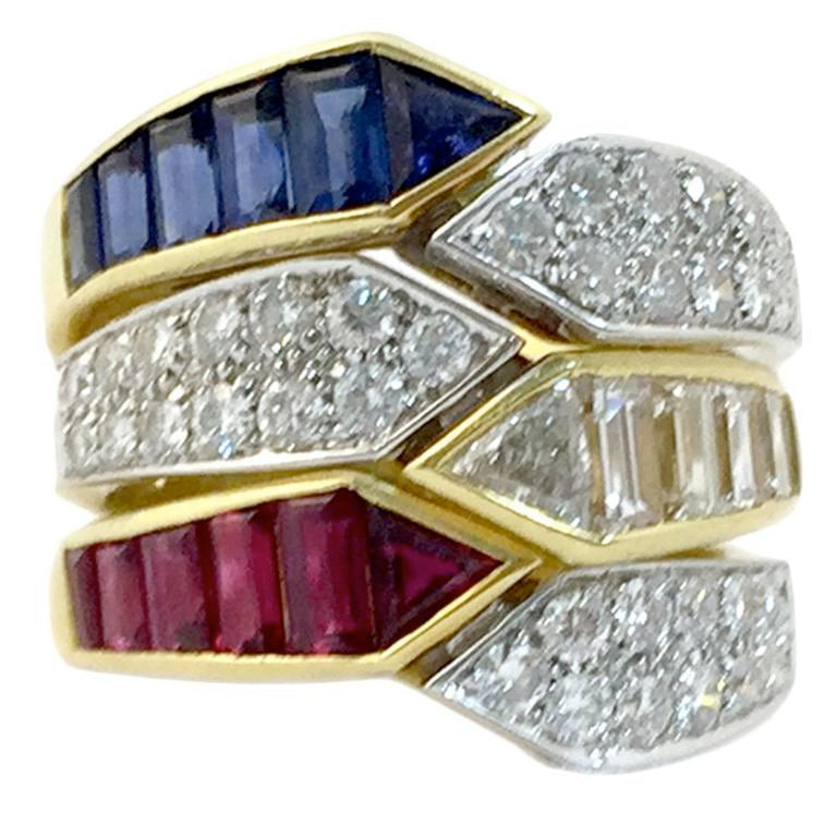 Triple Sapphire Ruby Diamond gold Ring Combination