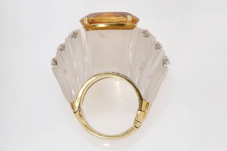 Rock Crystal Citrine Diamond Ring