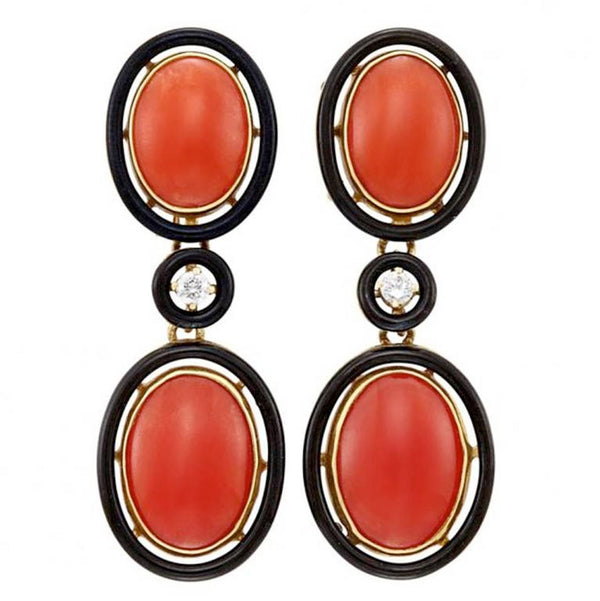 1920s Coral Black Enamel Ear Pendants