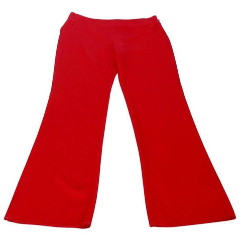 Valentino Pant Signature Red Full Leg Flat Front Trouser New 8