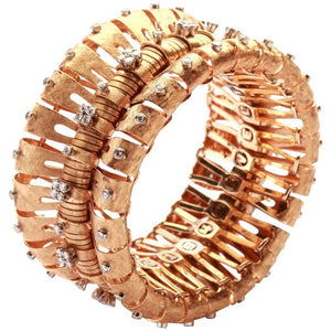 1950s Italian Retro Diamond Gold Bracelet
