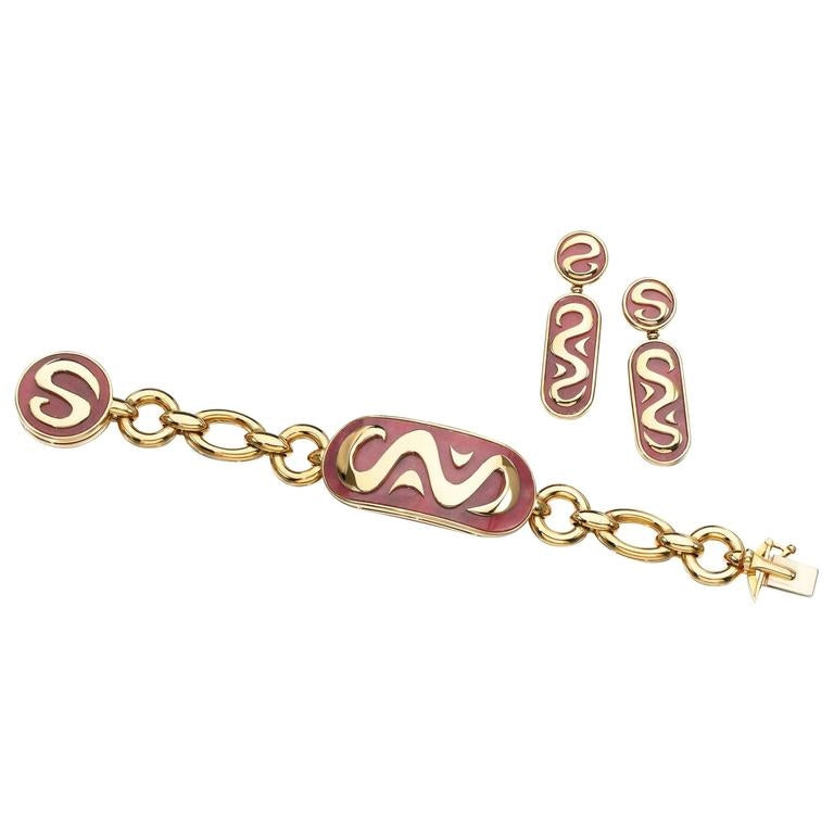 Bulgari Rhodonite Gold Set