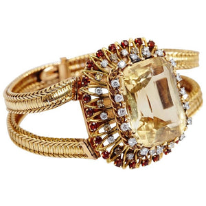 1950s Pierre Sterle Retro Citrine Garnets Diamonds Gold Bracelet