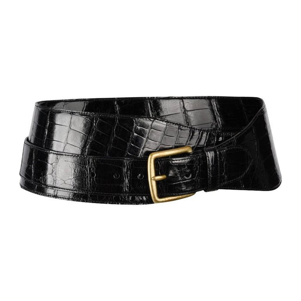 Ralph Lauren Belt Black Alligator Double Wrap Brass Buckle M new