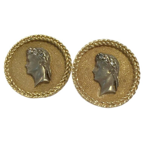Roman Imperial Design silver gold Cufflinks
