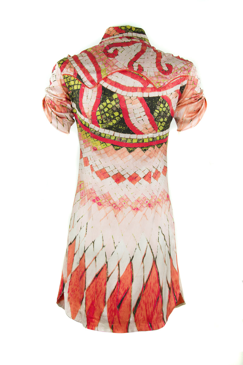 Roberto Cavalli Printed Stretch Charmeuse Button Down Dress