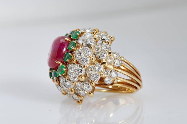 Ruby Emerald Diamond Bombe Ring