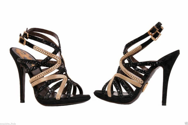 New Roberto Cavalli Crystal and Chain Embellished Shoes