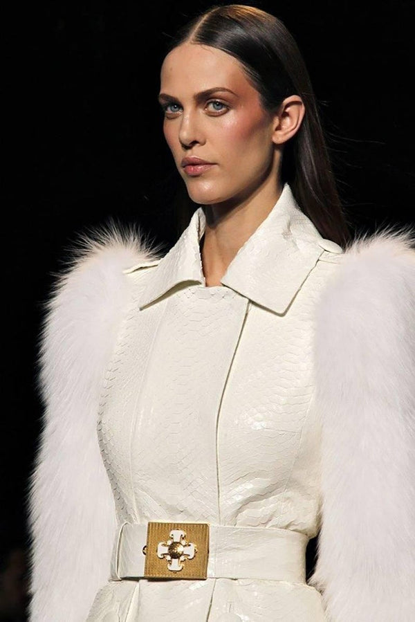 Versace Runway White Python Belt with Cross Buckle, Look 37 F / W 2011