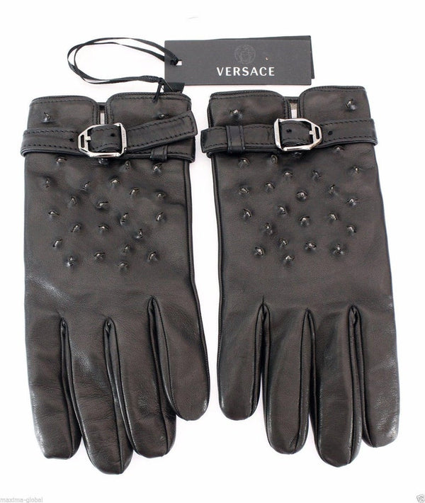 BLACK STUDDED LEATHER GLOVES for MEN - VERSACE RUNWAY NWT