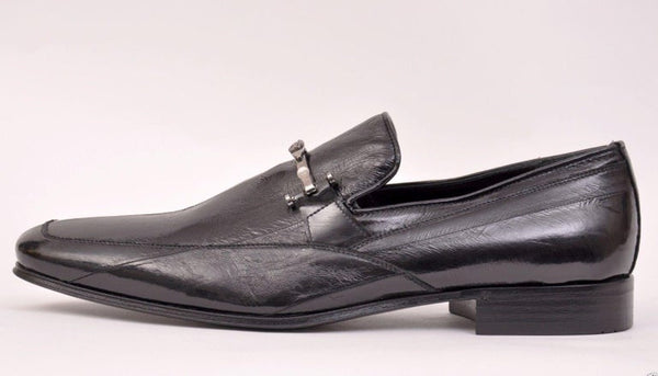 NEW VERSACE BLACK EEL SKIN LOAFERS for MEN