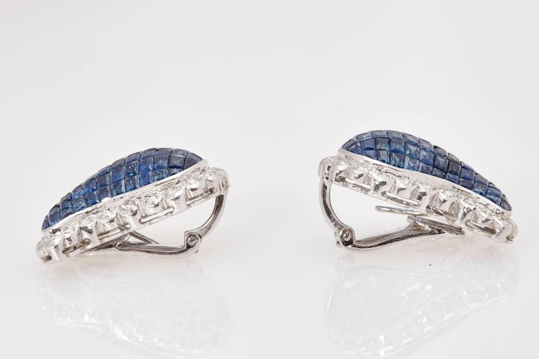 Invisible Set Sapphire and Diamond Earclips