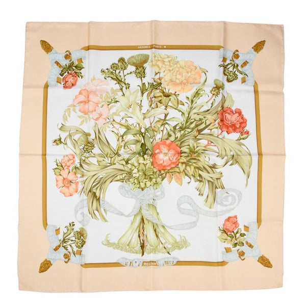 Hermes Scarf Iconic Regina by Leila Menchari Lush Flower Bouquet Vintage