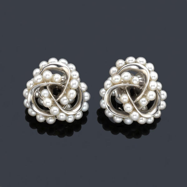 Seaman Schepps short knot style earrings with pearls in 18k white gold