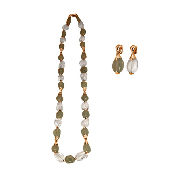 1980s Bulgari Aquamarine and Rock Crystal Sautoir and Earrings