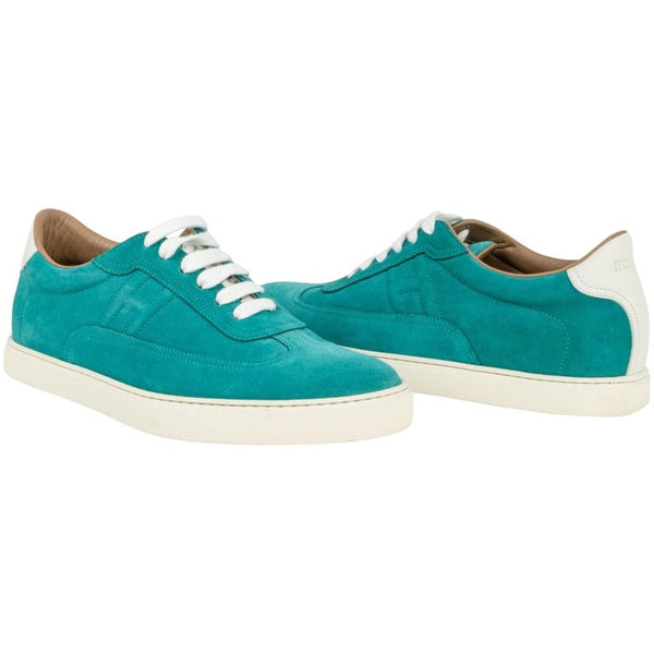 Hermes Shoe Men's Sneaker Blue Paon and White Suede 42.5