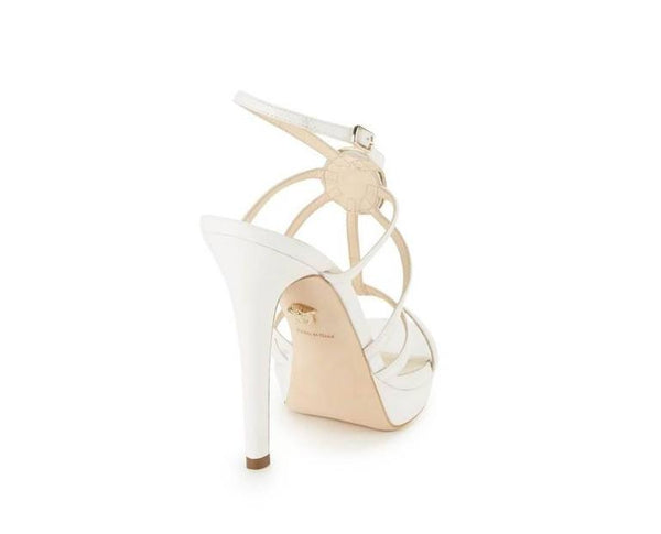 New VERSACE PLATFORM WHITE LEATHER MEDUSA EMBELLISHED SANDALS