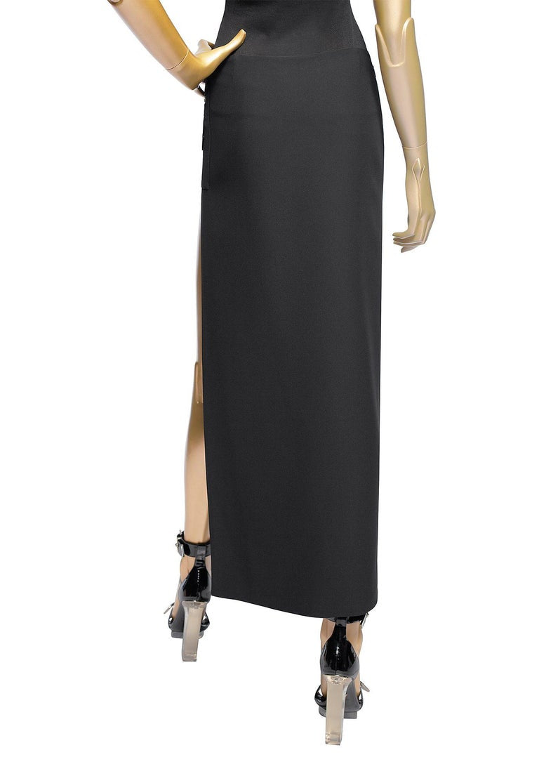 New Versace Black Silk Cut-Out Open Thigh Maxi Skirt