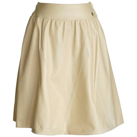 Chanel 01P Lambskin Nude Leather Skirt with Gold Tone 36 / 6