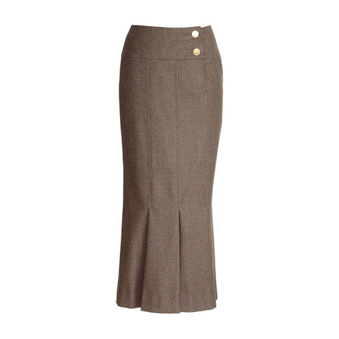 Chanel Skirt Light Brown Box Pleat Hem No5 Buttons 36 / 4