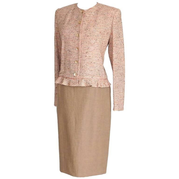 Emanuel Ungaro Fantasy Tweed Jacket Solid Skirt Suit 12 fits 10 New