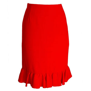 Valentino Skirt Signature Red Rear Flirty Ruffled Retail 8 New