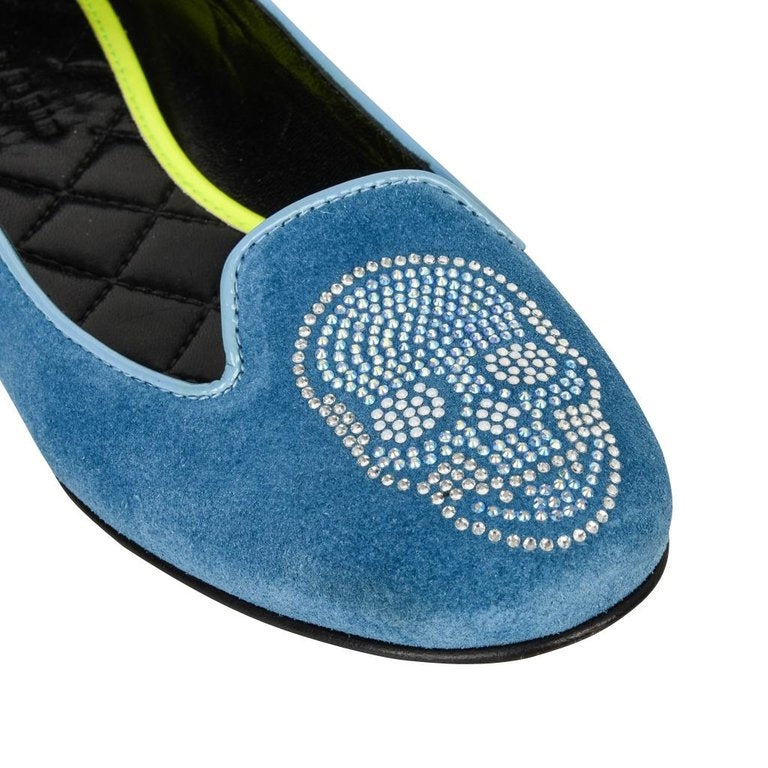 Philipp Plein Shoe Blue Suede Diamante Skull 39.5 / 9.5 New