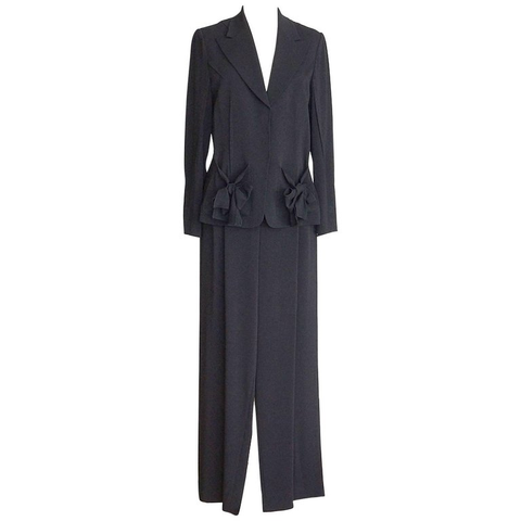 Sonia Rykiel Pant Suit Charming Bows Full Leg Trouser 8