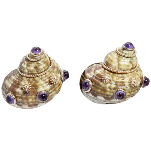 Seashell Amethyst Gold Earclips