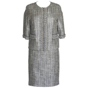 ST. JOHN COUTURE Skirt Suit Gray Tweed 3/4 Length Sleeve Chain Detail 6