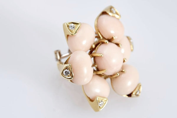 Coral Diamond Ear-Clips
