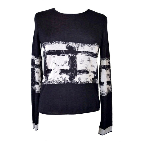 Chanel 04A Top Abstract Print Intarsia Cashmere Silk 42 / 8 New