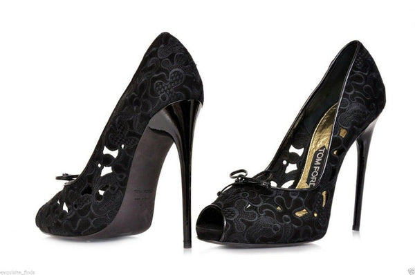 New TOM FORD EMBROIDERED SUEDE PLATFORM OPEN TOE PUMPS SHOES