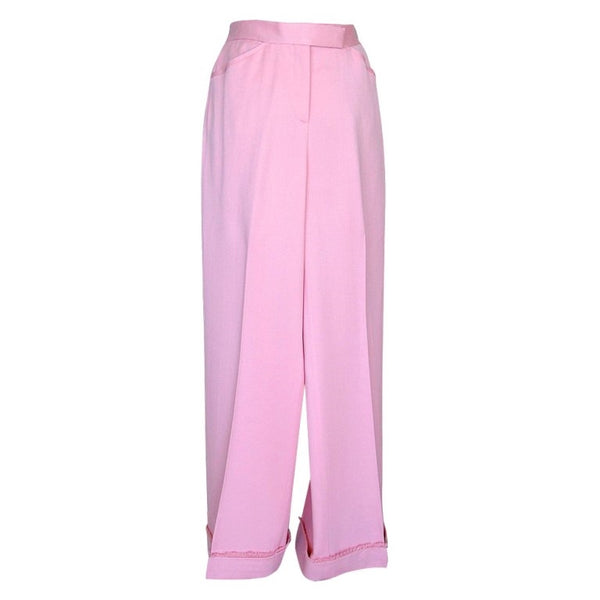 Chanel Trouser Pant French Pink Super Rear Detail Fringed Cuff 38