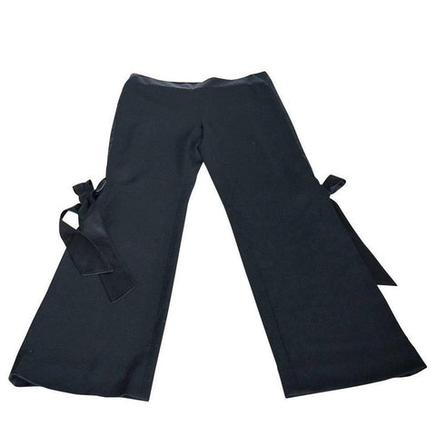 Valentino Pant Signature Silk Bow Accent Full Leg Trouser 8