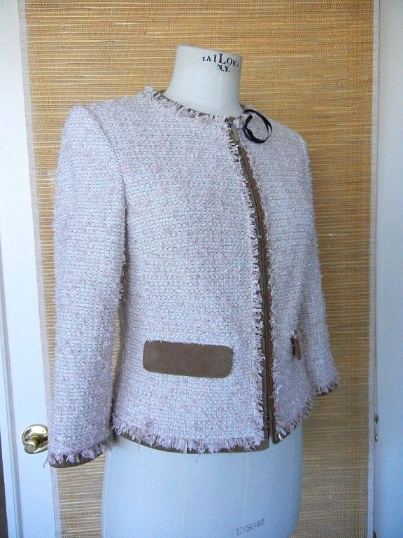 LES COPAINS Jacket Pink Fantasy Tweed Suede Edging 42 / 6 nwt