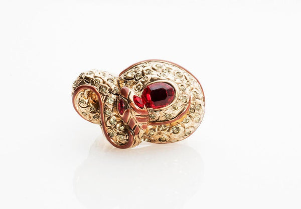 Versace Vintage Cocktail Ring With Crystals