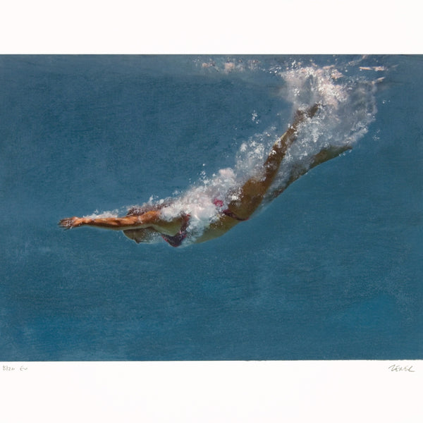 Untitled Swimmer in Blue and White by Eric Zener, 2019