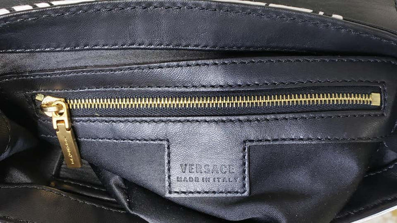 VERSACE WHITE and BLACK TEXTILE and LEATHER GREEK MEDUSA MINI BAG