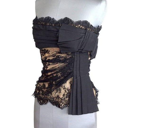 Valentino Black Lace Over Nude Signature Bow Bustier Top