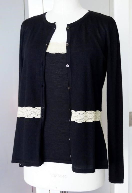 VALENTINO Twin Set Black Ivory Lace Accent Cashmere Silk L