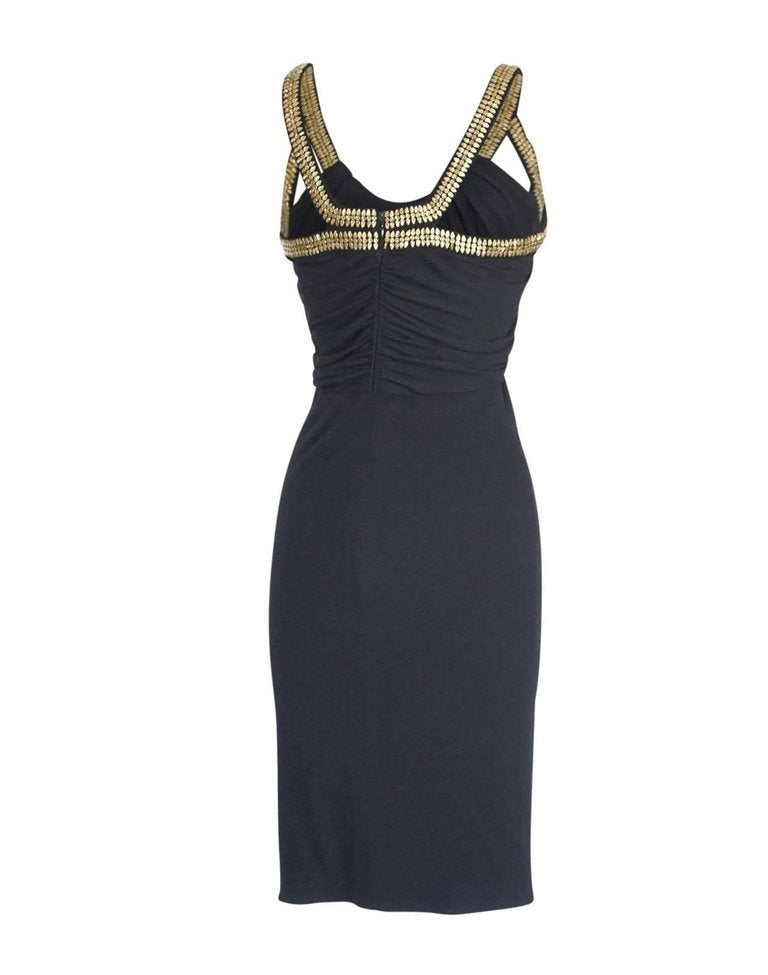 Versace Dress Gold Hardware Black pleated and Rouched 40 / 4